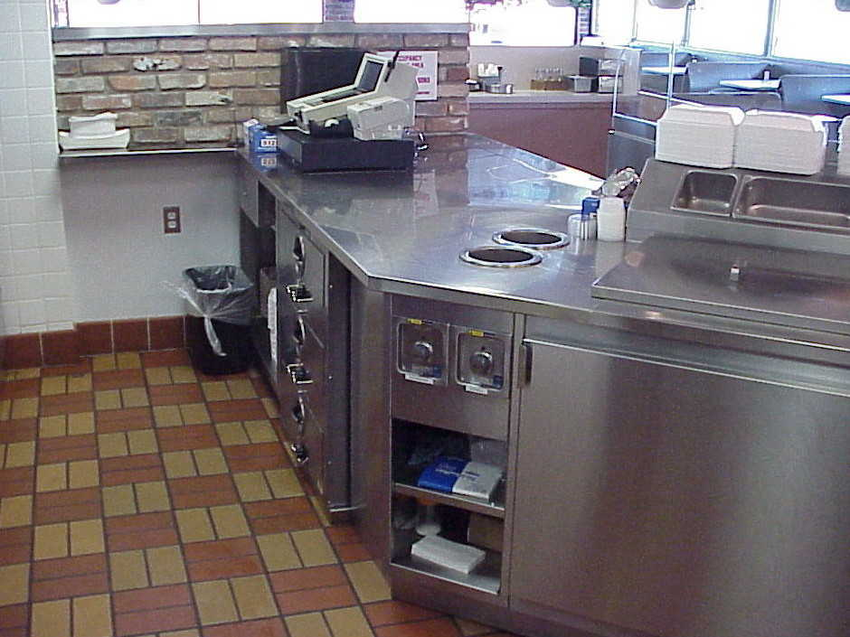 Stainless steel serving countertop
